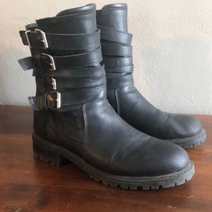 Zara Basic Black Strappy Leather Moto Boots